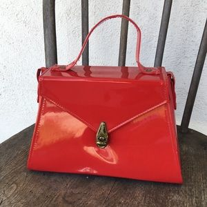 Handbags - Vintage Red Faux Patent Leather Handbag with Strap